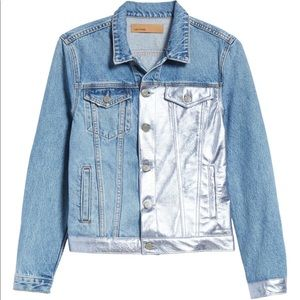 Grlfrnd Bianca Metallic Leather Panel Denim Jacket